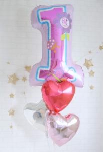 1歳女の子のお誕生日バルーン